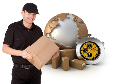 deliver:  Isolated image of a messenger delivering a parcel with a world map, packages and a chronometer as a background  Stock Photo