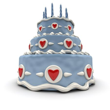 3D rendering of  a impressive blue three floor cake with red hearts and candles  photo