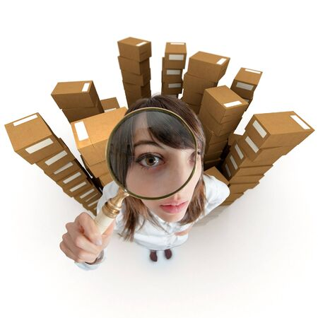 locate:   Young woman with a magnifying glass surrounded by piles of cardboard boxes