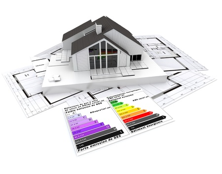 isolation:  3D rendering of a house, on top of blueprints, with and energy efficiency rating chart  Stock Photo