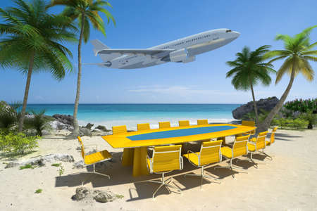 convention:  3D rendering of a meeting room in a beautiful tropical beach and a flying plane  Stock Photo
