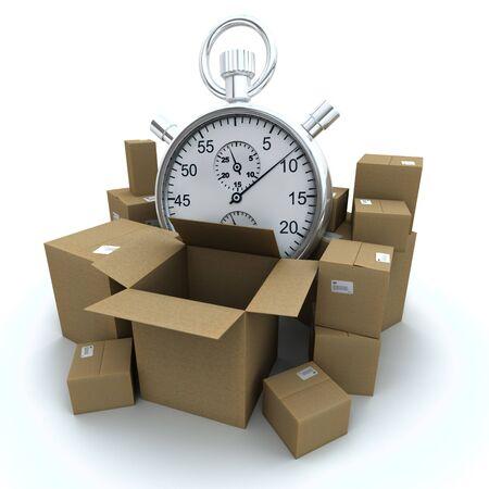 Representación 3D de cajas de cartón y un cronómetro