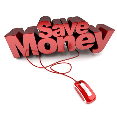 money online:  3D rendering of the words save money connected to a computer mouse