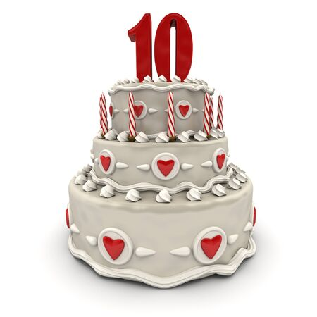 3D rendering of a multi-tiered cake with a number ten on top  photo