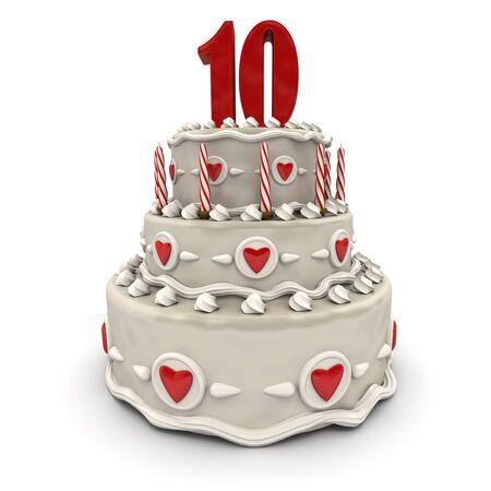 numero diez:  Representaci�n 3D de un pastel de m�ltiples niveles con un n�mero diez en la parte superior