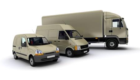 3D-weergave van een vrachtwagen, een bestelwagen en een vrachtwagen tegen een neutrale achtergrond