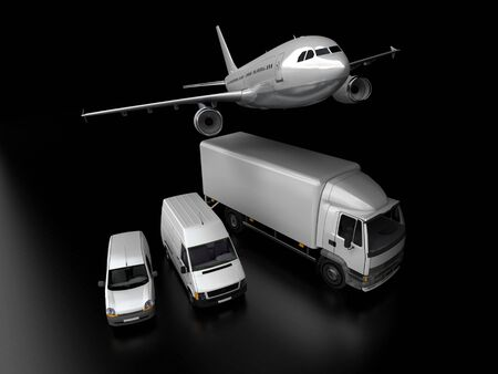 3D rendering of an airplane, a truck, a van and a lorry against a black background  photo