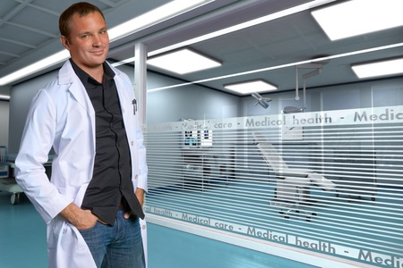 A young friendly doctor in a modern clinic Stock Photo - 9664809