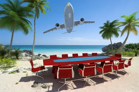 perks:  3D rendering of a meeting room in a beautiful tropical beach and a flying plane  Stock Photo