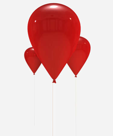 3D rendering of a group of red balloons flying with the strings hanging down. Ideal to put your own message or object  photo