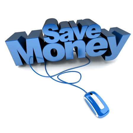 saving money:  3D rendering of the words save money connected to a computer mouse