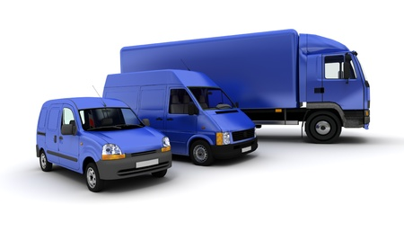 white truck:  3D rendering of a truck, a van and a lorry against a neutral background