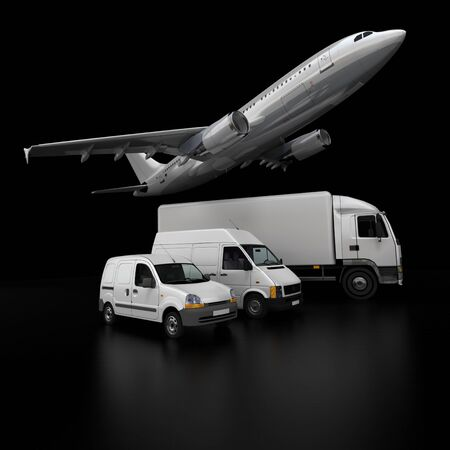 fleet:  3D rendering of an airplane, a truck, a van and a lorry against a black background  Stock Photo