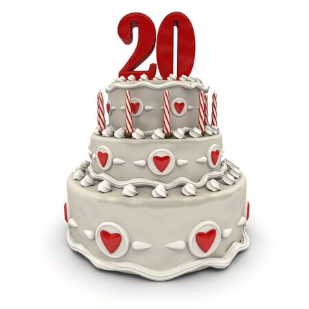 3D rendering of a multi-tiered cake with a number twenty on top  photo