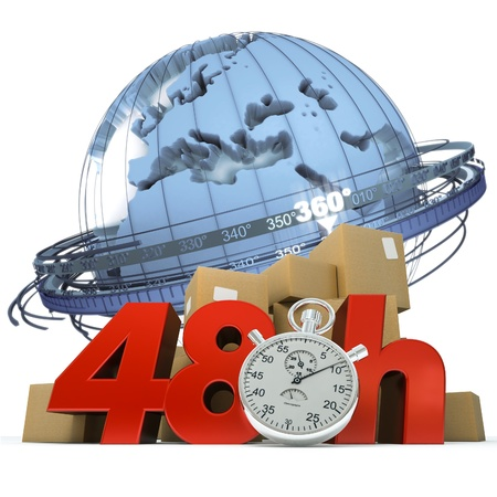 3D rendering of the Earth a pile of boxes and the words 48Hrs and a chronometer  photo