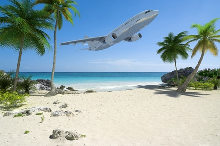 An airplane flying over an exotic tropical beach  photo