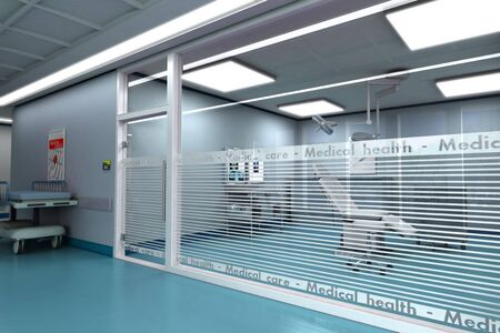 emergency stretcher:  3D rendering of a minor surgery room from behind a glass wall