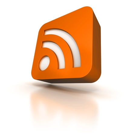 syndication:  3D rendering of an orange icon with the RSS symbol
