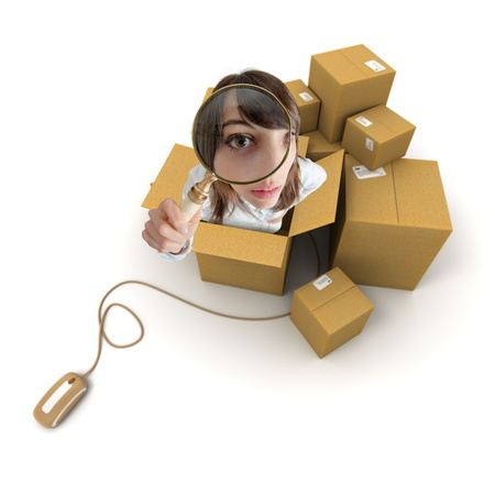 Young woman with magnifying glass and cardboard boxes connected to a computer mouse   photo