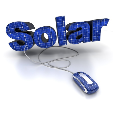 photovoltaic:  3D rendering of the word solar with solar-panel texture connected to a computer mouse