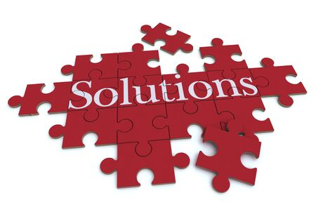 3D rendering of a forming puzzle with the word Solutions  Stock Photo - 9676559