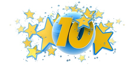 number ten:   Background in blue and yellow colors with stars drops and spheres and the number ten