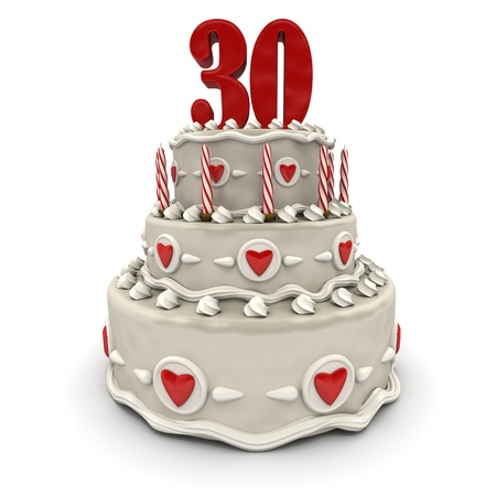 3D rendering of a multi-tiered cake with a number thirty on top  photo