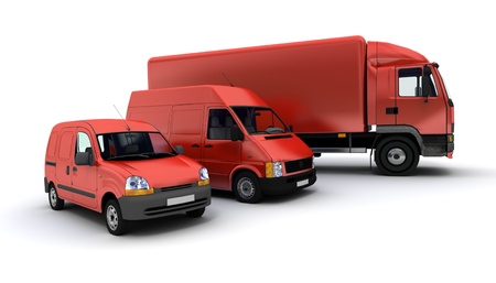 courier:  3D rendering of a truck, a van and a lorry against a neutral background