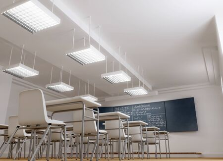 classrooms:   3D rendering of an empty typical classroom