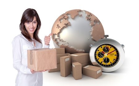Happy young woman holding a box with a transportation related background  photo