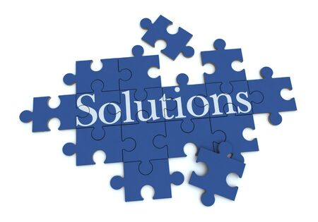 3D rendering of a forming puzzle with the word Solutions Stock Photo - 9800412