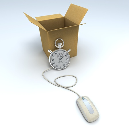 overnight delivery:  3D rendering of an open cardboard box with a chronometer connected to a computer mouse  Stock Photo