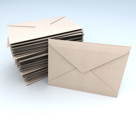 3D rendering of a pile of brown envelopes with a standing one   photo
