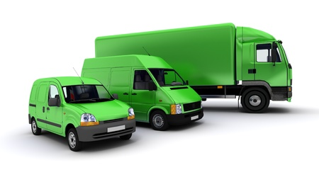 fleet:  3D rendering of a truck, a van and a lorry against a neutral background