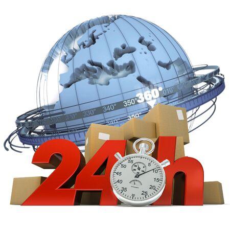 embarque:  Representaci�n 3D de la tierra un mont�n de cajas y las palabras las 24 horas y un cron�metro