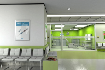 clinical:  3D rendering of a clinics waiting room with an operating room in the background  Stock Photo