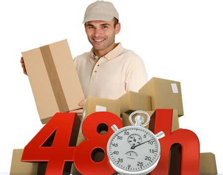 shipment parcel:   A messenger delivering a parcel with 48 hrs and a chronometer