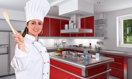 countertop:  Smiling female young chef with a nice smile