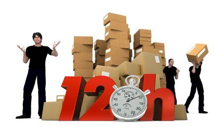 stockpiling:   Representaci�n 3D de montones de cajas de cart�n y tres trabajadores con las palabras de 12 horas y un cron�metro