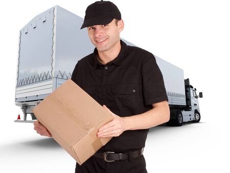 delivery man:   Isolated image of a messenger delivering a lot of boxes with a trailer truck in the background  Stock Photo