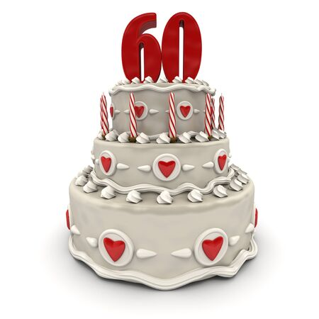 sixty:  3D rendering of a multi-tiered cake with a number sixty on top