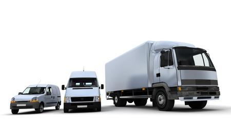 transport:  Ein LKW, eine van und ein Lastwagen vor einem neutralen Hintergrund-3D-rendering  Lizenzfreie Bilder