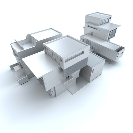 building structures:  3D rendering of a designer house in white