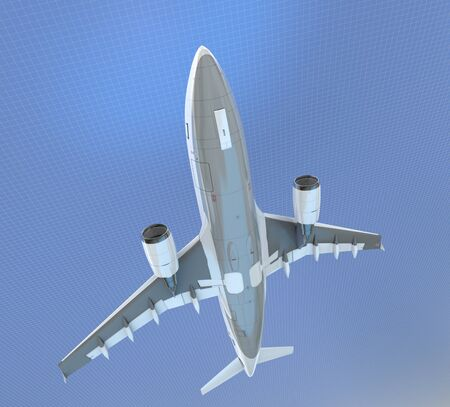 3D rendering of an airplane flying against a blue grid background