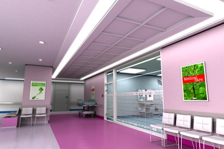 hospital stretcher:  3D rendering of an upscale modern clinic in purple tones