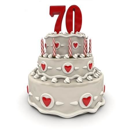 seventy:  3D rendering of a multi-tiered cake with a number Seventy on top  Stock Photo