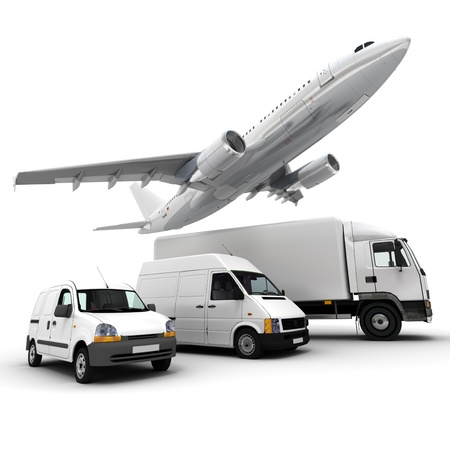 3D rendering of an airplane, a truck, a van and a lorry against a neutral background