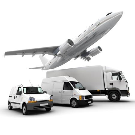 3D-rendering van een vliegtuig, een vrachtwagen, een bestelwagen en een vrachtwagen tegen een neutrale achtergrond