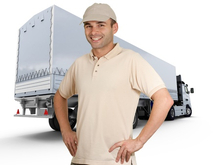 truck driver:  Isolated image of a man in front of a trailer truck