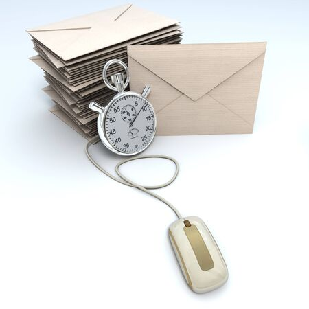 chronometer:  3D rendering of a stack of envelopes with a chronometer connected to a computer mouse  Stock Photo